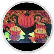 Round Beach Towel featuring the painting Halloween Holidays by Donald J Ryker III