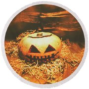 Halloween In Fall. Still Life Pumpkin Head Round Beach Towel