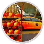 Halloween In New York  Round Beach Towel by Funkpix Photo Hunter