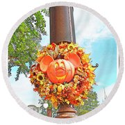 Halloween In Walt Disney World Round Beach Towel