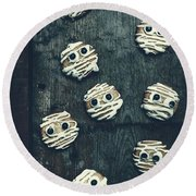 Halloween Mummy Cookies Round Beach Towel