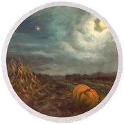 Halloween Mystery Under A Star And The Moon Round Beach Towel
