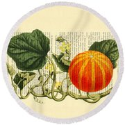 Halloween Pumpkin Antique Illustration Round Beach Towel