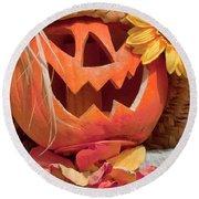 Halloween Pumpkin Head Round Beach Towel by Art Block Collections