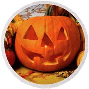 Halloween Pumpkin Smiling Round Beach Towel