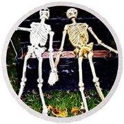 Halloween Skeleton Couple Round Beach Towel
