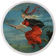 Halloween Witch And Black Cat Riding Broom At Night Round Beach Towel