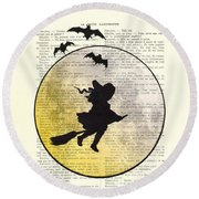 Witch Flying With Full Moon Round Beach Towel