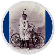 Halloween Pierrot Boy With Antique Bicycle Circa 1890 Round Beach Towel