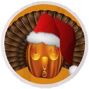 Hallowgivingmas Santa Turkey Pumpkin Round Beach Towel