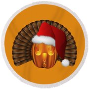 Hallowgivingmas Santa Turkey Pumpkin Round Beach Towel