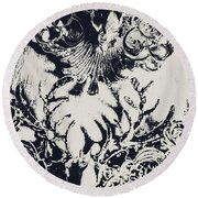 Halls Of Horned Art Round Beach Towel