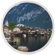Hallstatt Lakeside Village In Austria Round Beach Towel