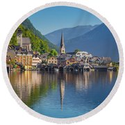 Hallstatt Reflections Round Beach Towel