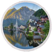 Hallstatt Sunrise Round Beach Towel