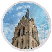 Round Beach Towel featuring the photograph Halmstad Church In Sweden by Antony McAulay