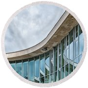 Round Beach Towel featuring the photograph Halmstad University Labrary Detail by Antony McAulay