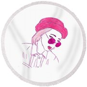 Halsey Round Beach Towel by Lucy Frost