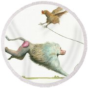 Hamadryas Baboon With Hen Round Beach Towel
