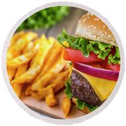Hamburger And Fries Round Beach Towel