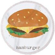 Hamburger Round Beach Towel by Linda Woods