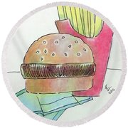 Hamburger With Fries Round Beach Towel