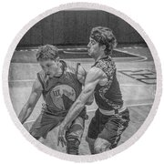 Round Beach Towel featuring the photograph Hamlin Holding Off Blaney by Ronald Santini