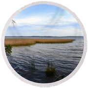 Round Beach Towel featuring the photograph Hamlin Lake In Autumn by Michelle Calkins