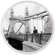 Hammersmith Bridge In London - England - C 1896 Round Beach Towel by International  Images