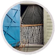 Hammock In Key West Window Round Beach Towel