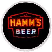 Hamm's Beer Round Beach Towel by Susan  McMenamin