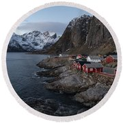 Hamnoy In Lofoten Round Beach Towel
