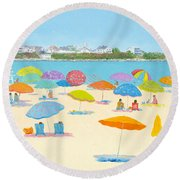 Hampton Beach Umbrellas Round Beach Towel