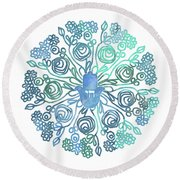 Hamsa Mandala 1- Art By Linda Woods Round Beach Towel by Linda Woods