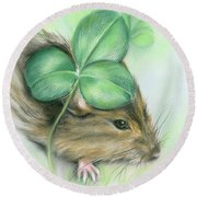 Hamster In The Clover Round Beach Towel