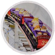 Hamster On Roller Coaster Round Beach Towel
