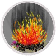 Hamsters By A Fire Round Beach Towel