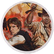Han Solo And Indiana Jones Round Beach Towel