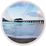 Hanalei Bay Pier At Sunrise Round Beach Towel by Melanie Alexandra Price