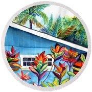 Round Beach Towel featuring the painting Hanalei Cottage by Marionette Taboniar
