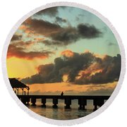 Hanalei Pier Sunset Panorama Round Beach Towel