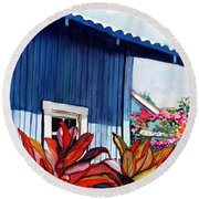 Round Beach Towel featuring the painting Hanapepe Town by Marionette Taboniar