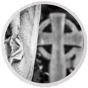 Hand And Cross Round Beach Towel by Sonny Marcyan