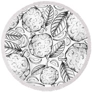 Hand Drawn Background Of Fresh Guava Fruits Round Beach Towel