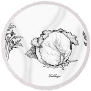 Hand Drawn Of Celery, Cabbage And Chicory Round Beach Towel
