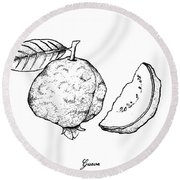 Hand Drawn Of Fresh Guava On White Background Round Beach Towel