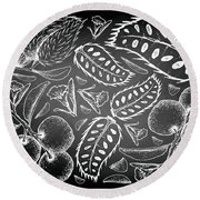 Hand Drawn Of Tallow Plum And Soursop On Chalkboard Round Beach Towel