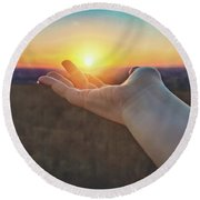 Round Beach Towel featuring the photograph Hand Holding Sun - Sunset At Lapham Peak - Wisconsin by Jennifer Rondinelli Reilly - Fine Art Photography