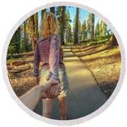 Hand In Hand Sequoia Hiking Round Beach Towel