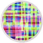 Hand-painted Abstract Gingham Weave Neon Rainbow Round Beach Towel